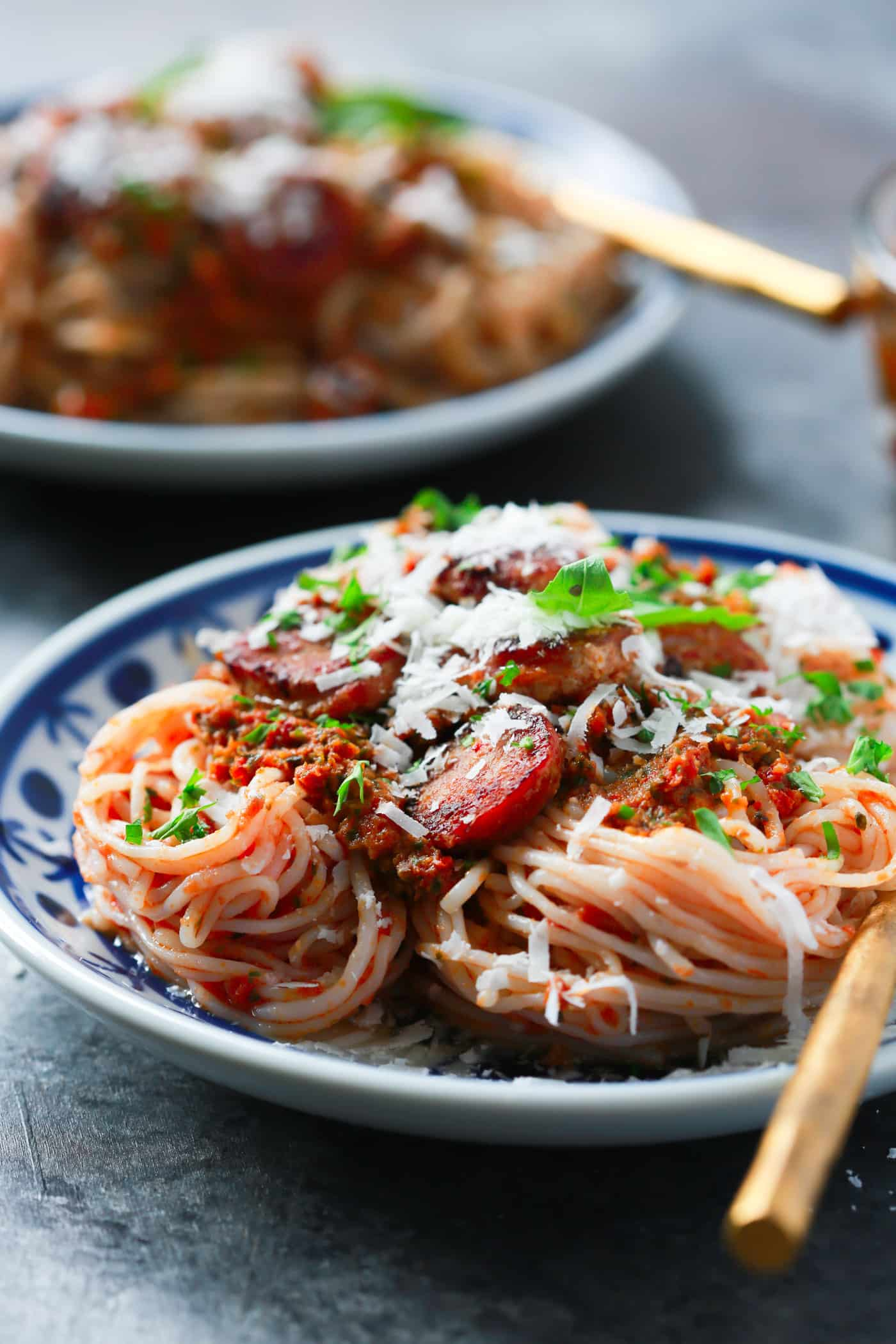 This Italian Sausage Sun-dried Tomato Pesto Pasta is loaded with flavour. And you won't believe this recipe is actually low-carb and gluten-free!