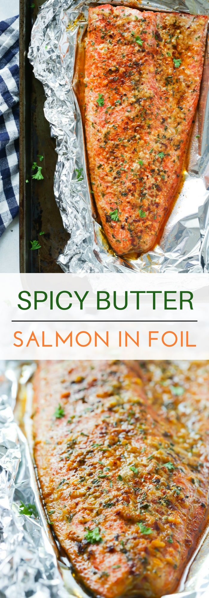 This Spicy Butter Salmon in Foil is made with melted butter and lots of spices. It's cooked in 20 minutes, then broiled for the crispy finish!