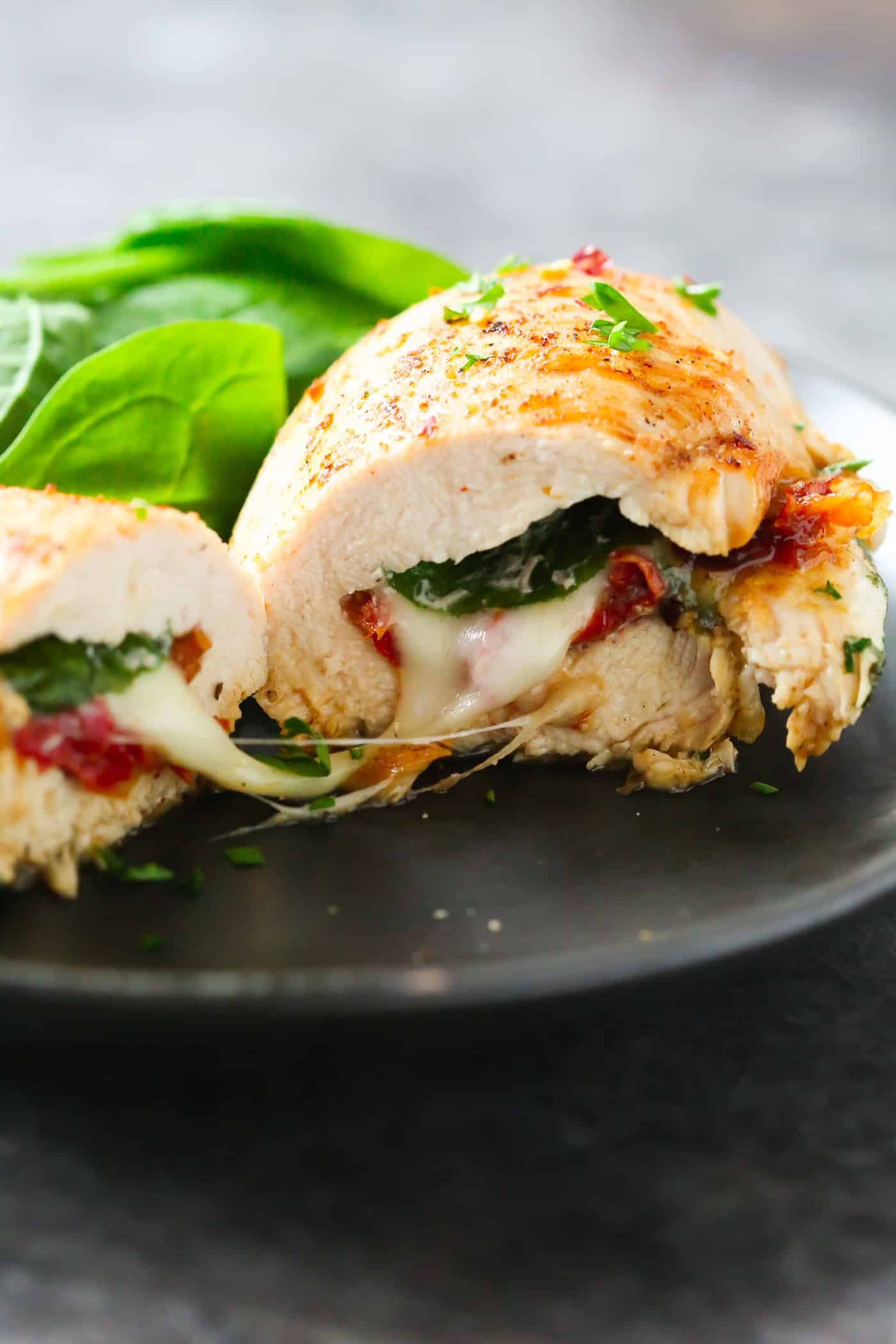 Sun Dried Tomato Spinach And Cheese Stuffed Chicken