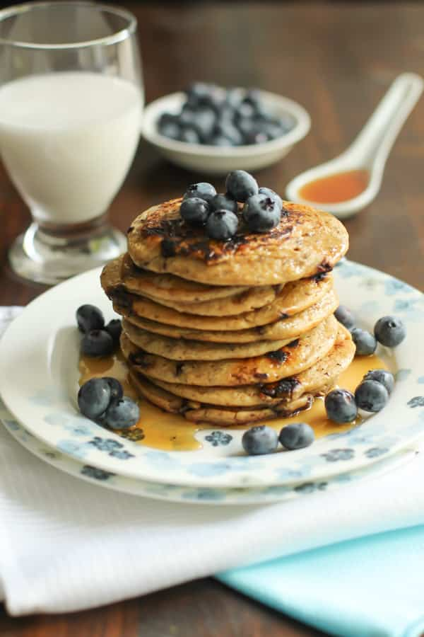 peanut butter and chocolate chips pancakes