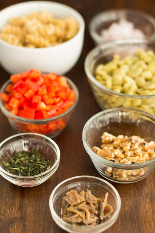 pasta salad with lima beans and anchovies