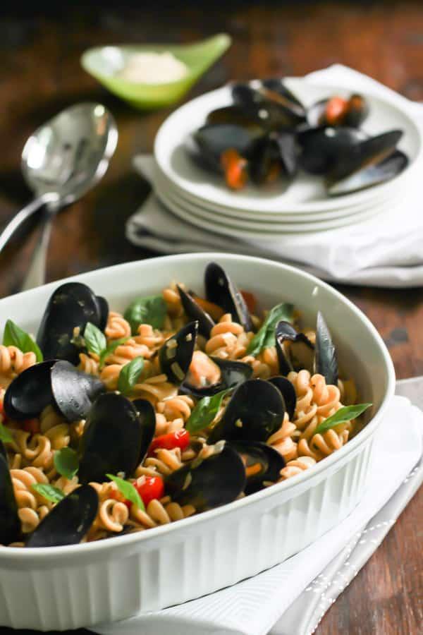 whole wheat fusilli with mussels Primavera Kitchen Recipe