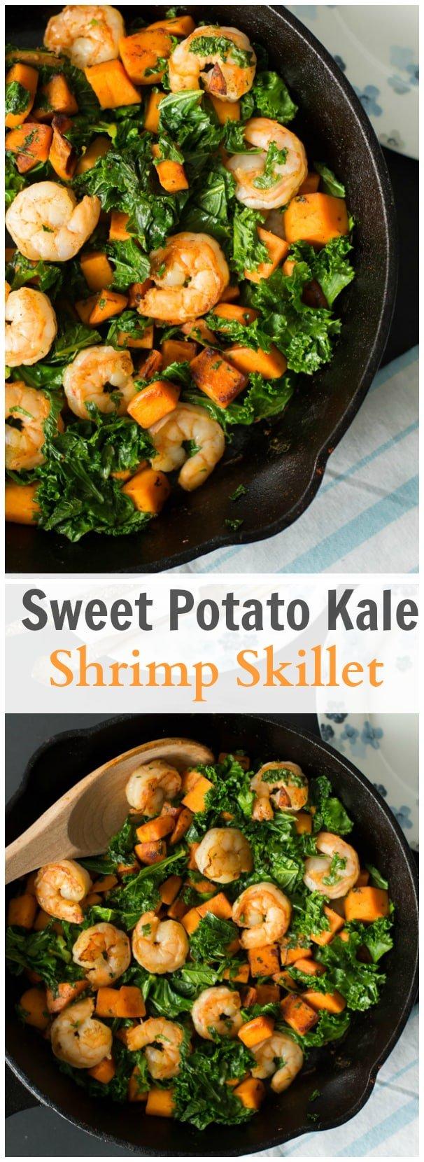 Sweet Potato Kale Shrimp Skillet
