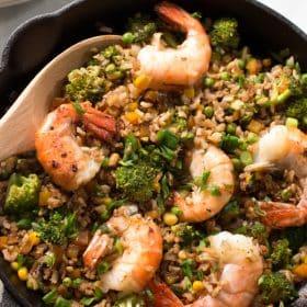 Shrimp fried rice with broccoli