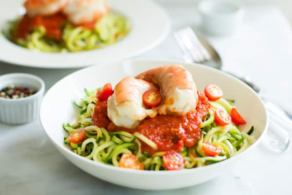 Zucchini noodles with tomato sauce and shrimp Primavera Kitchen Recipe