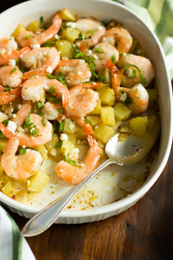 Roasted Potato with lemon shrimp Primavera Kitchen recipe