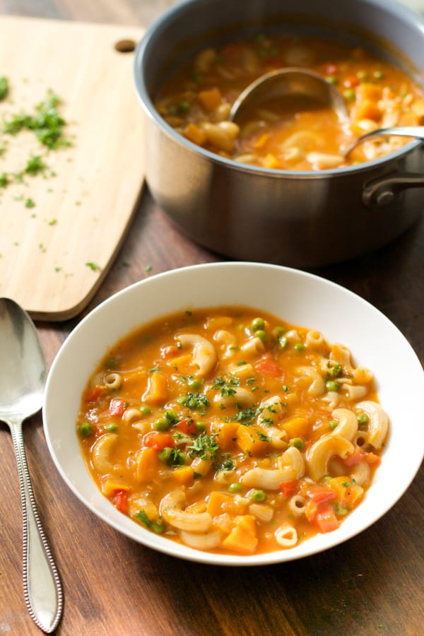 Pasta Soup with Sweet Potato and Peas