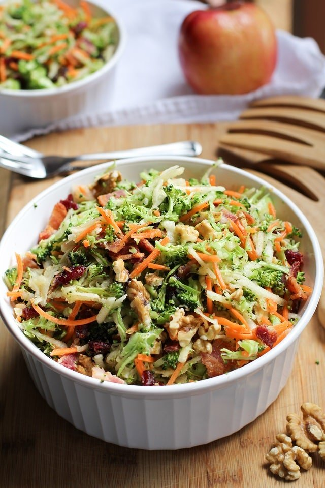 Grated Broccoli Salad with Carrots, Apples, and Dried Cranberries Healthy Summer Recipe