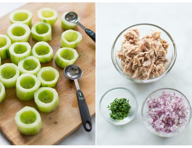 Tuna cucumber cups recipe primavera kitchen for Canape cup fillings