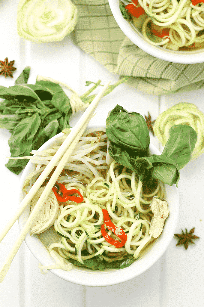 Chicken Pho with Zoodles recipes Primavera Kitchen