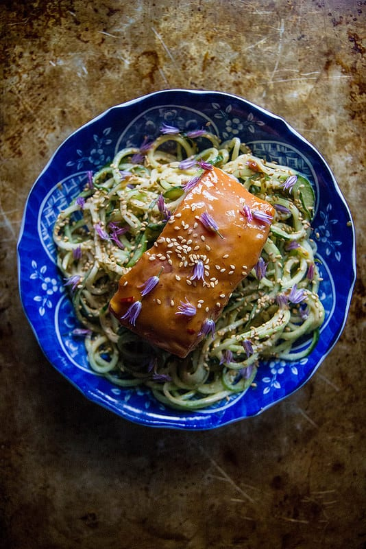 Grilled Tahini Glazed Salmon with Cucumber Noodles recipes Primavera Kitchen