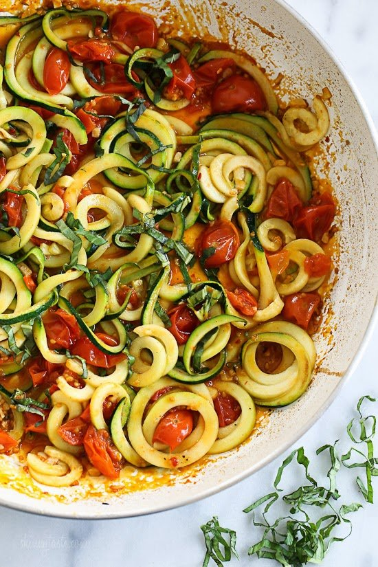 Spiralized Zucchini with Quick Tomato Sauce recipes Primavera Kitchen