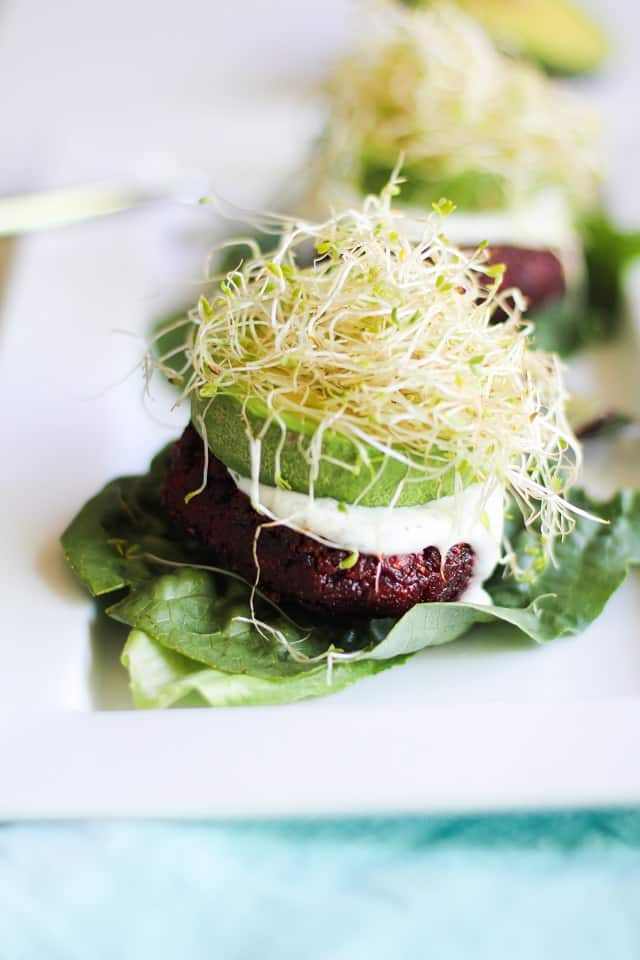 indian spiced beet burgers with lemon dill yogurt sauce hero