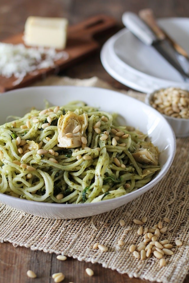 turnip pesto pasta with artichoke hearts and kale recipes Primavera Kitchen