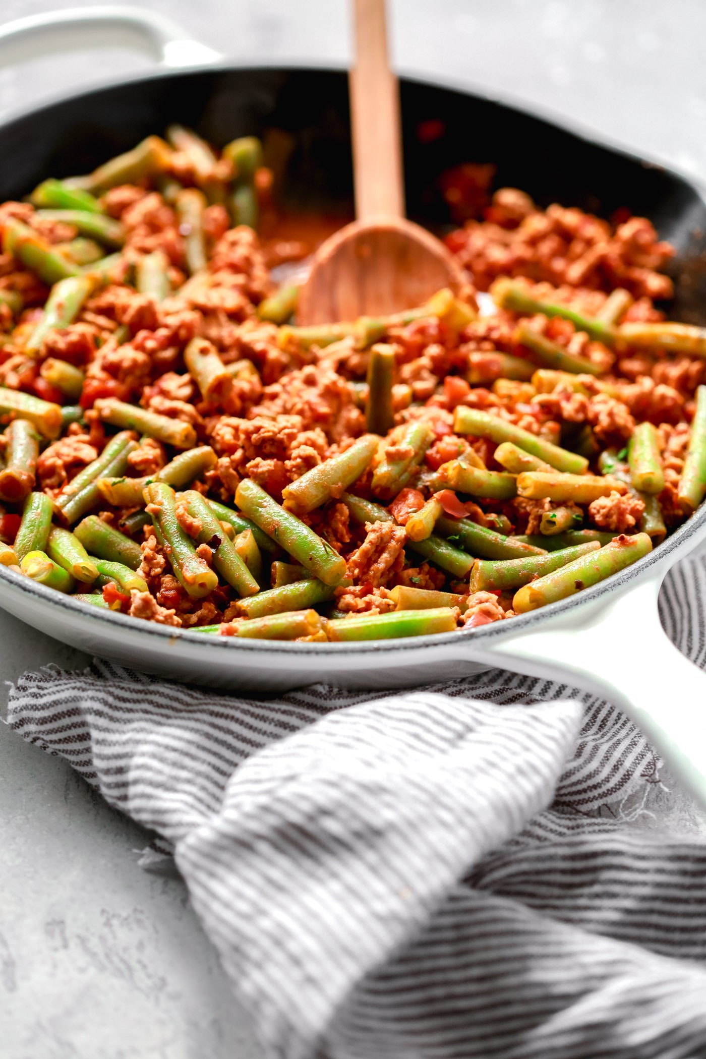 Healthy Ground Turkey Recipes | Ground Turkey Skillet with Green Beans