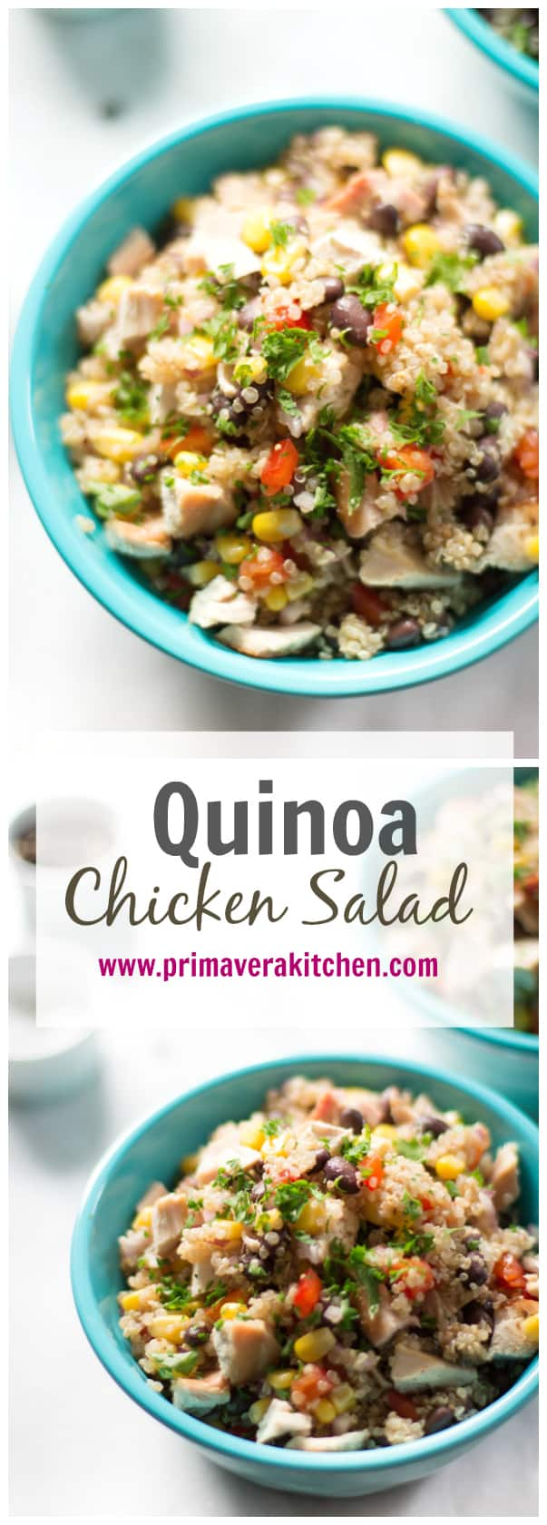 Quinoa chicken salad makes a quick and easy side or main you can serve hot or cold. Delicious and packed full of good-for-you ingredients too!