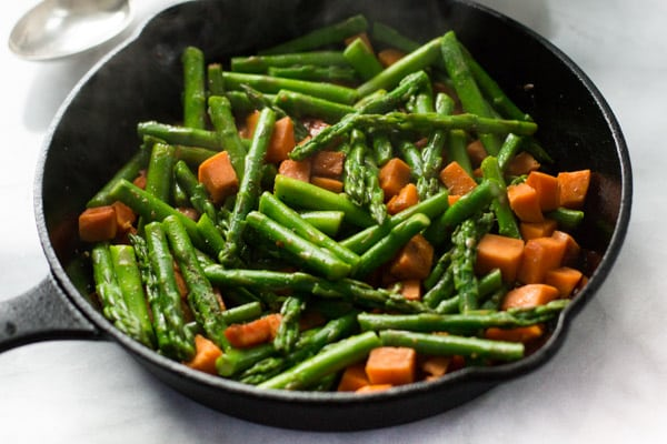 This Asparagus Sweet Potato Chicken Skillet Primavera Kitchen Recipe Paleo Gluten-free