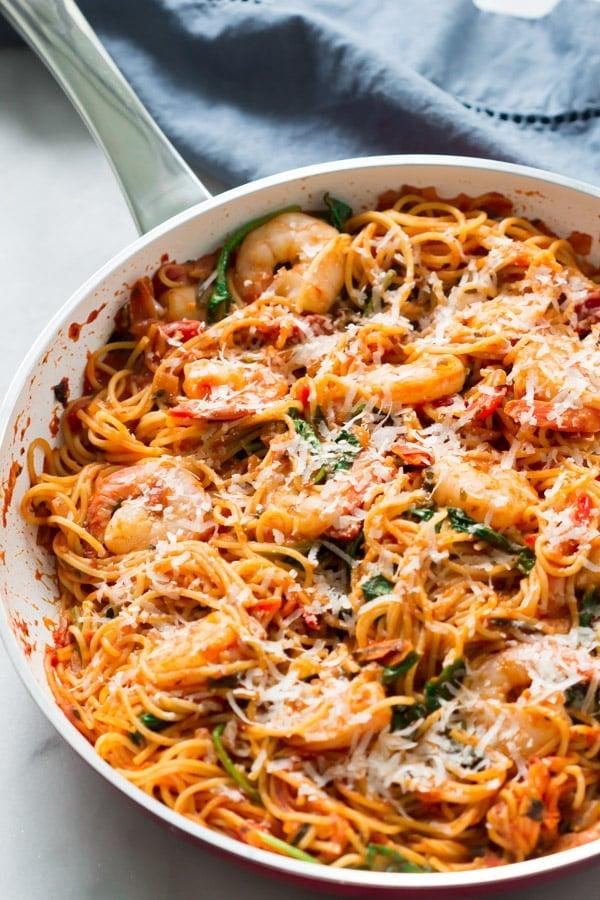 One-Pan Shrimp Spaghetti Primavera Kitchen Recipe