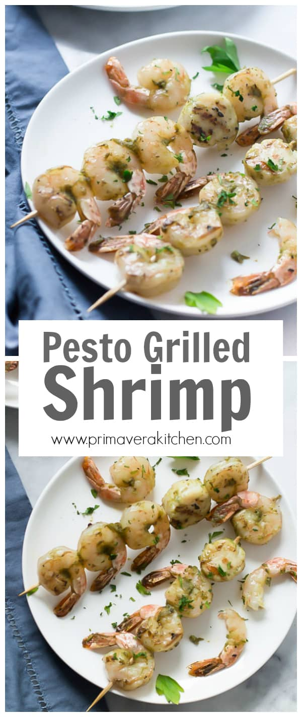 Pesto Grilled Shrimp - Fire up the grill and make this easy, quick and flavourful Pesto Grilled Shrimp.