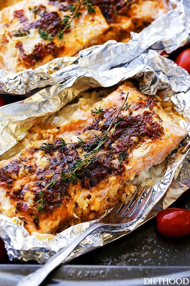 Easy Pesto Salmon and Rice In Foil Primavera Kitchen Recipe
