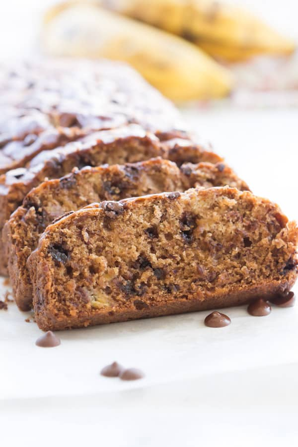 Super Moist Gluten-free Chocolate Chip Banana Bread - This Super Moist Gluten-free Banana Bread is load with overripe bananas, Greek yogurt and coconut oil. It's moist, fluffy, light and super flavourful.