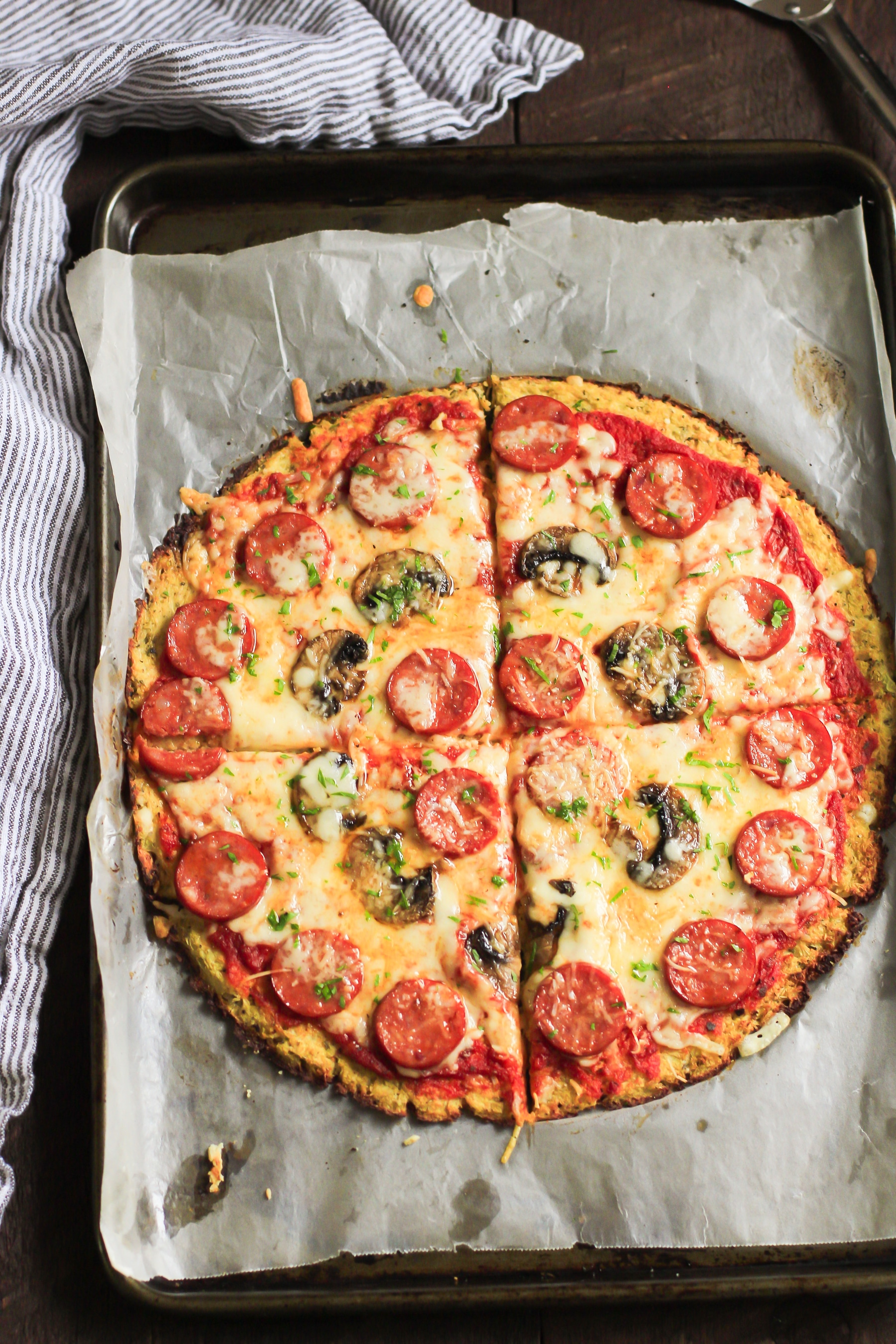 California Pizza Kitchen Pepperoni Pizza low-carb pepperoni cauliflower pizza crust - primavera kitchen