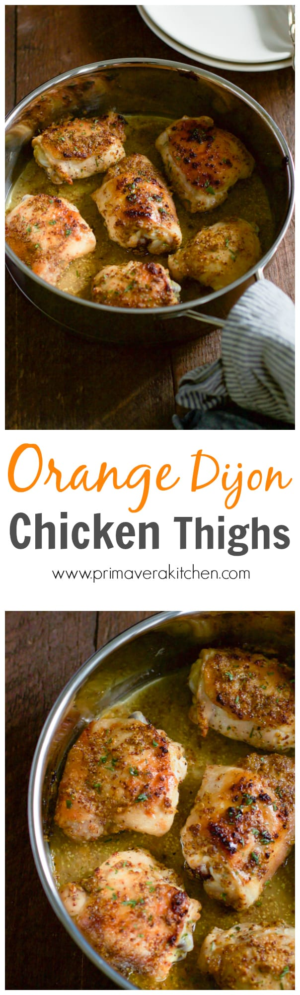 orange-dijon-chicken-thighs - This Orange Dijon Chicken Thighs recipe only requires 4-ingredient, it takes only 5 minutes to prepare and it serves 6 people. The perfect chicken recipe for the busy weeknights!