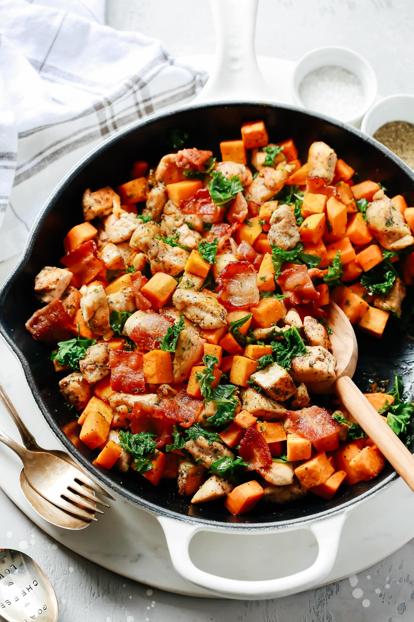 Sweet Potato Chicken Skillet with Kale and Bacon from Primavera Kitchen on foodiecrush.com