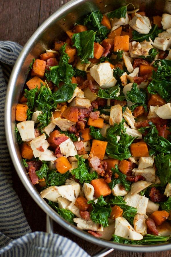 sweet potato chicken kale skillet Primavera Kitchen Recipe