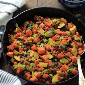 Ground Beef Zucchini Sweet Potato Skillet Primavera Kitchen Recipe