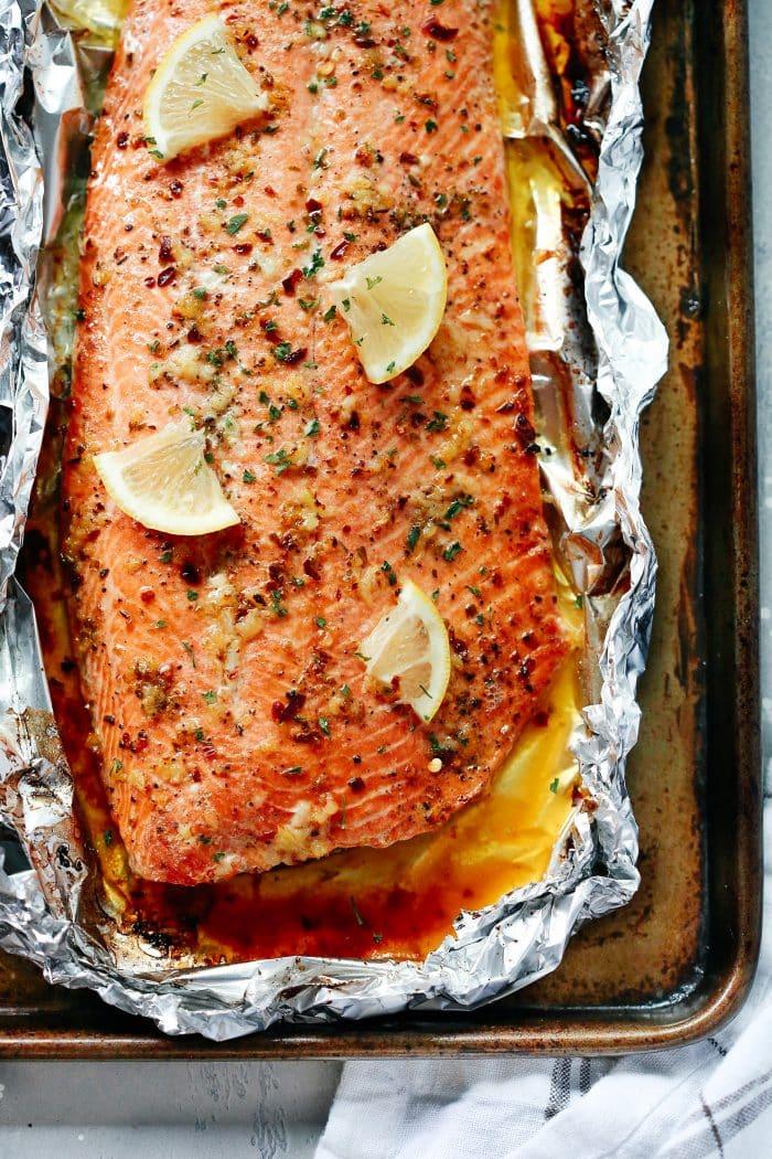 Garlic Butter Salmon In Foil The Best Salmon Recipe