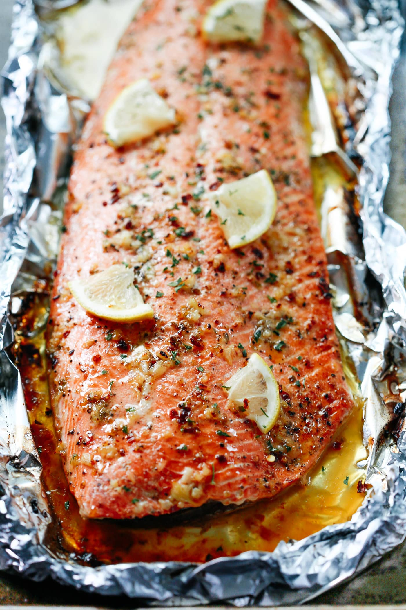 Garlic Butter Salmon in Foil Recipe - Primavera Kitchen