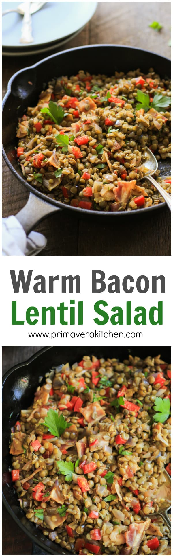 This Warm Bacon Lentil Salad is very easy and quick to make and it is tossed with a delicious Dijon dressing! www.primaverakitchen.com