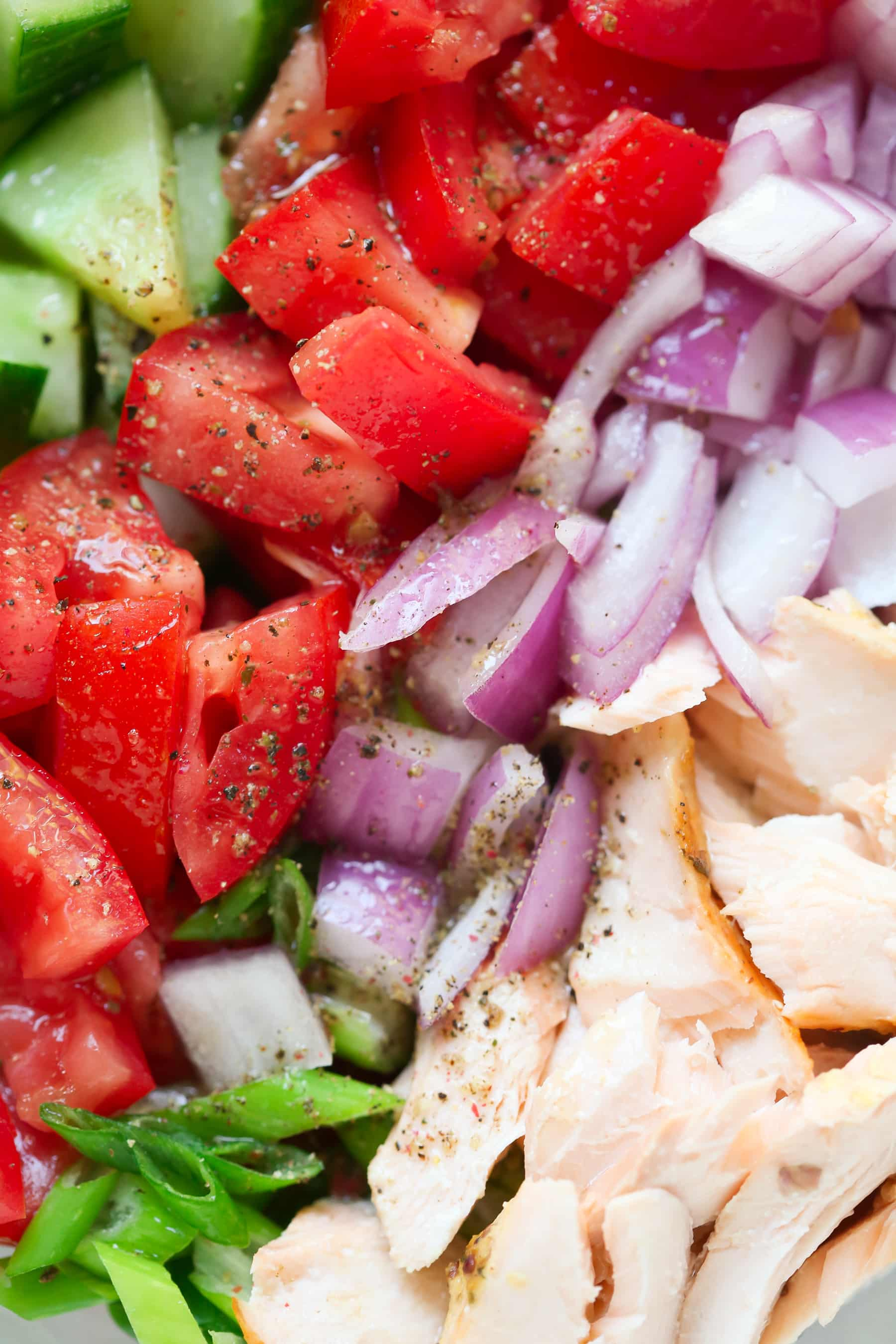 Salmon Chopped Salad recipe - Salmon Chopped Salad recipe is quick and easy to make, packed with protein, healthy fats and it's flavoured with lemon vinaigrette.