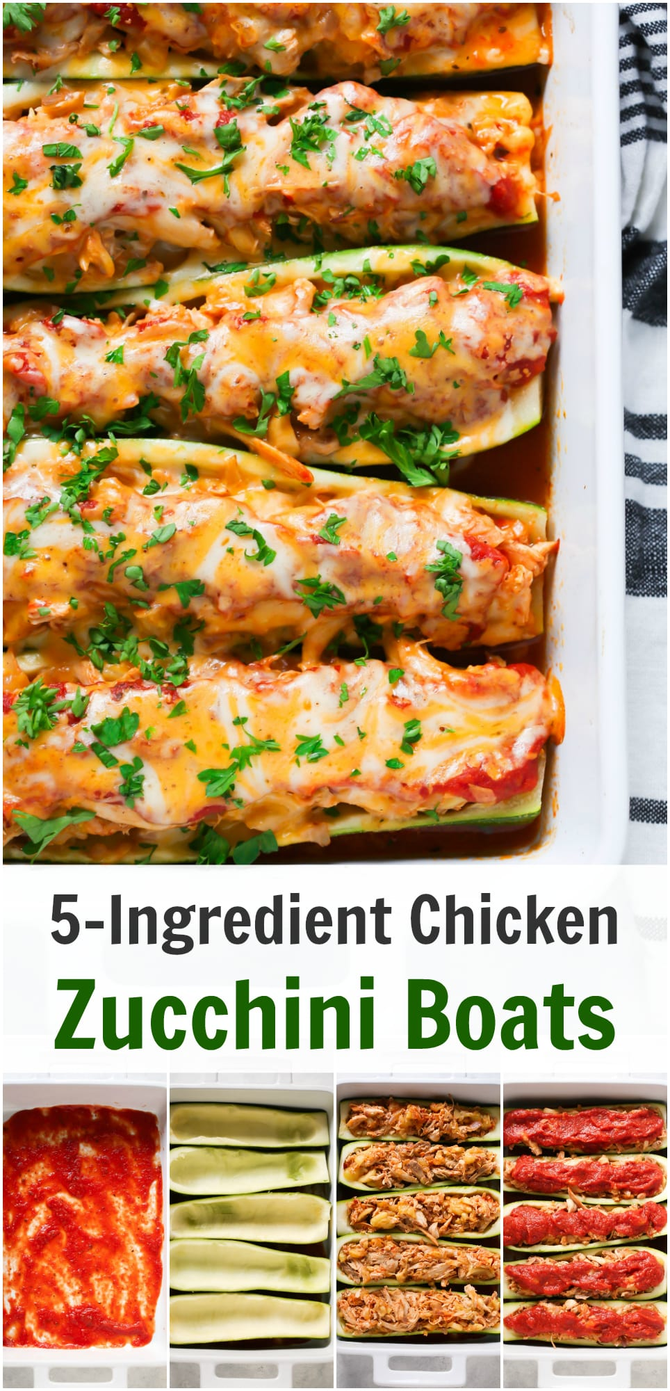 Try this low-carb and gluten-free 5-Ingredient Chicken Zucchini Boats that are stuffed with chicken, homemade tomato pasta sauce and mozzarella/cheddar cheese.