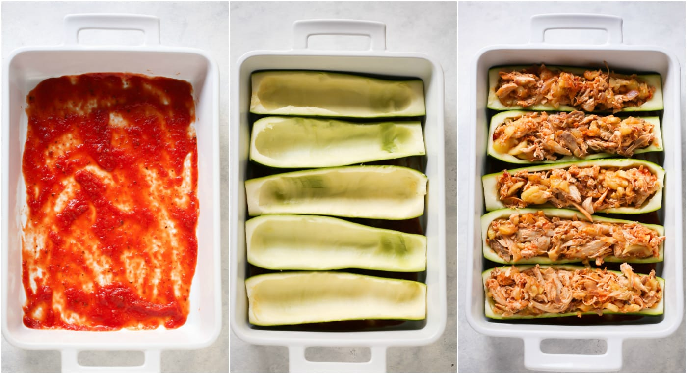 Try this low-carb and gluten-free 5-Ingredient Chicken Zucchini Boats that are stuffed with chicken, homemade tomato pasta sauce and mozzarella/ cheddar cheese.