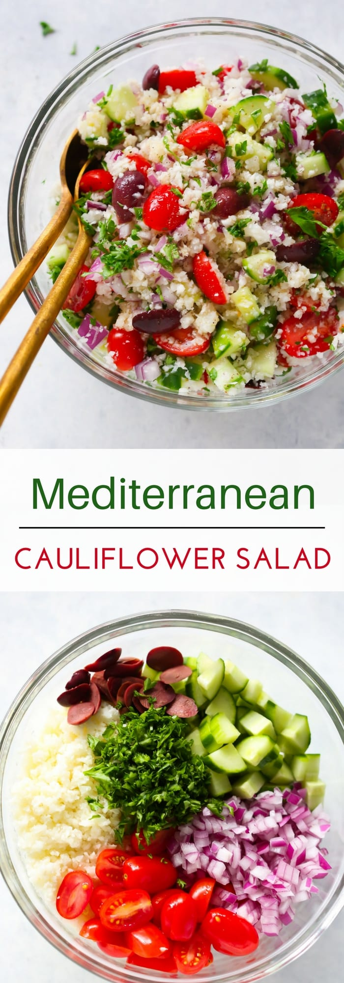 Mediterranean Cauliflower Salad - This Mediterranean Cauliflower Salad is loaded with fresh summer veggies and it's vegan, gluten-free and perfect for a low-carb diet.