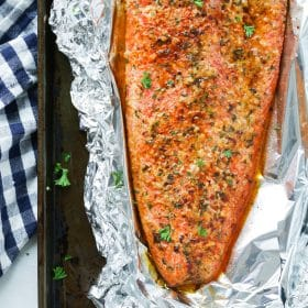 Spicy Butter Salmon in Foil tinfoil recipe Primavera Kitchen