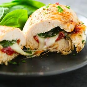 Sun Dried Tomato, Spinach and Cheese Stuffed Chicken.