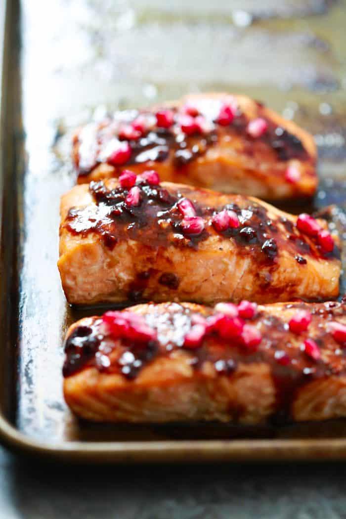4 Ingredient Pomegranate Glazed Salmon Primavera Kitchen