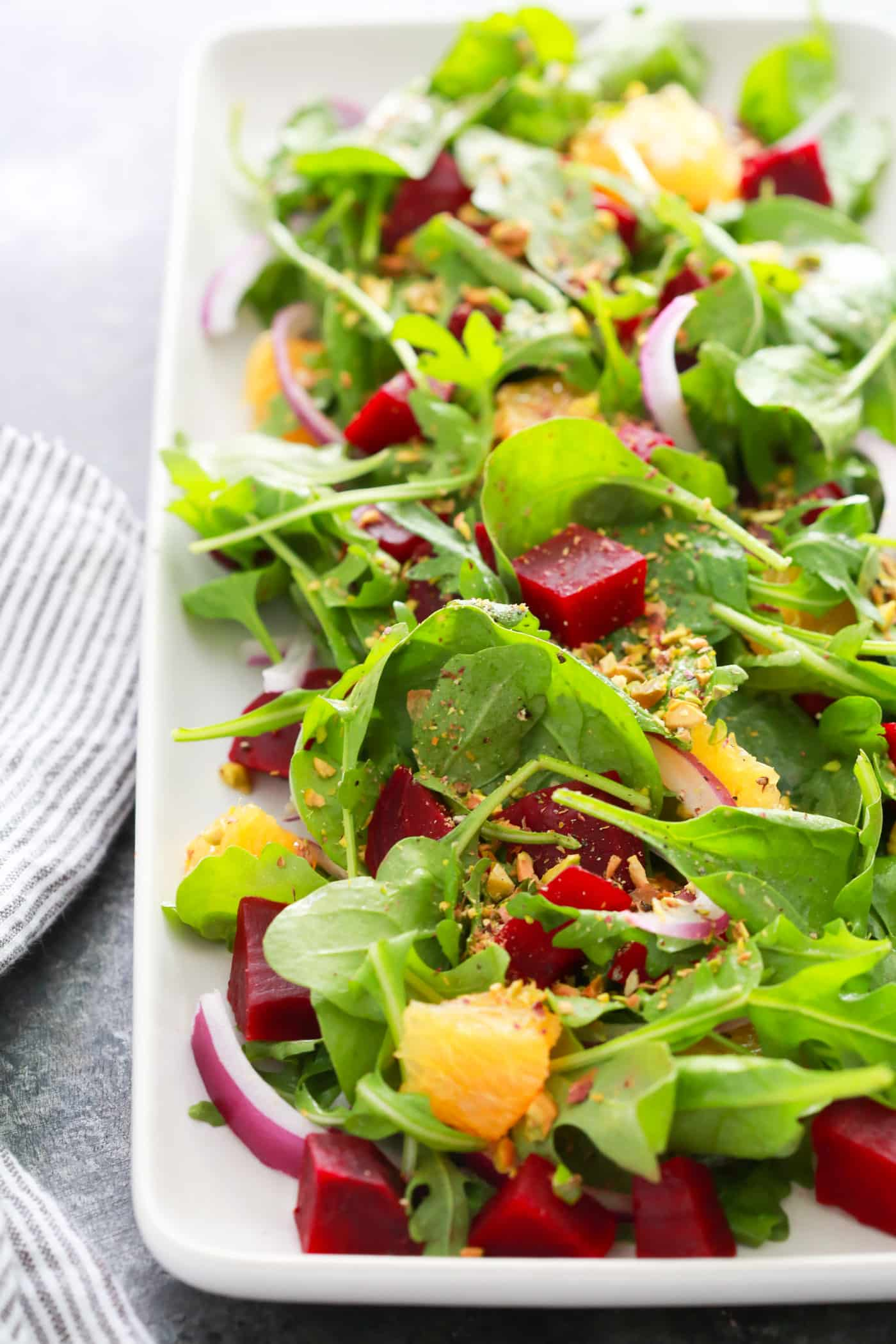 This Autumn Beet Orange Salad is flavorful, healthy, effortless and it's tossed with a tangy orange mustard vinaigrette.