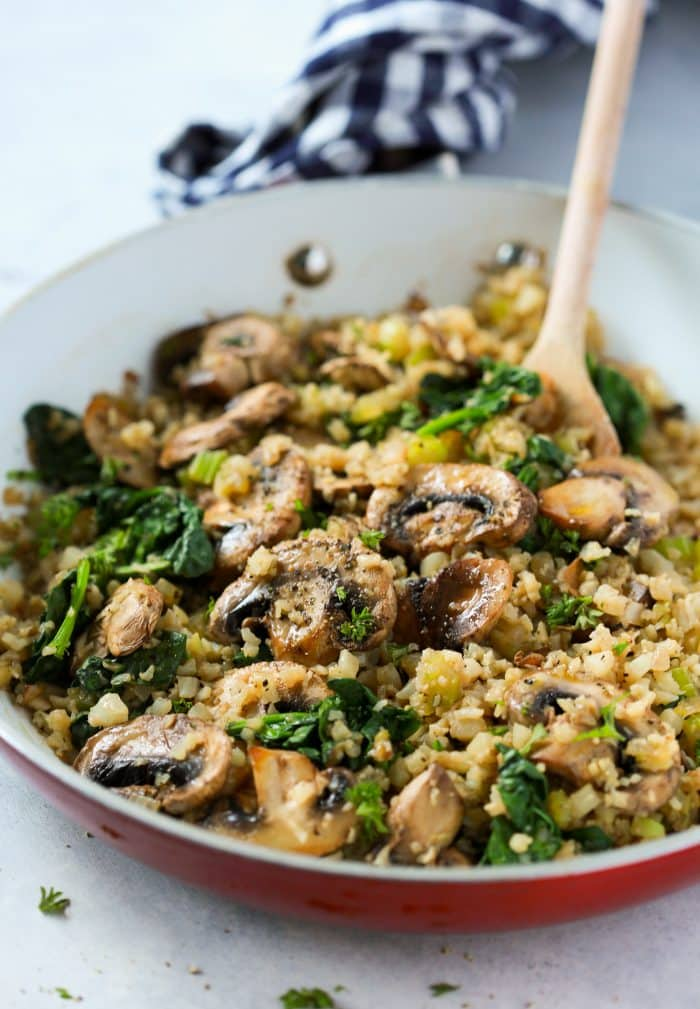 "Mushroom Cauliflower ""Rice"" Skillet Primavera Kitchen Recipe"