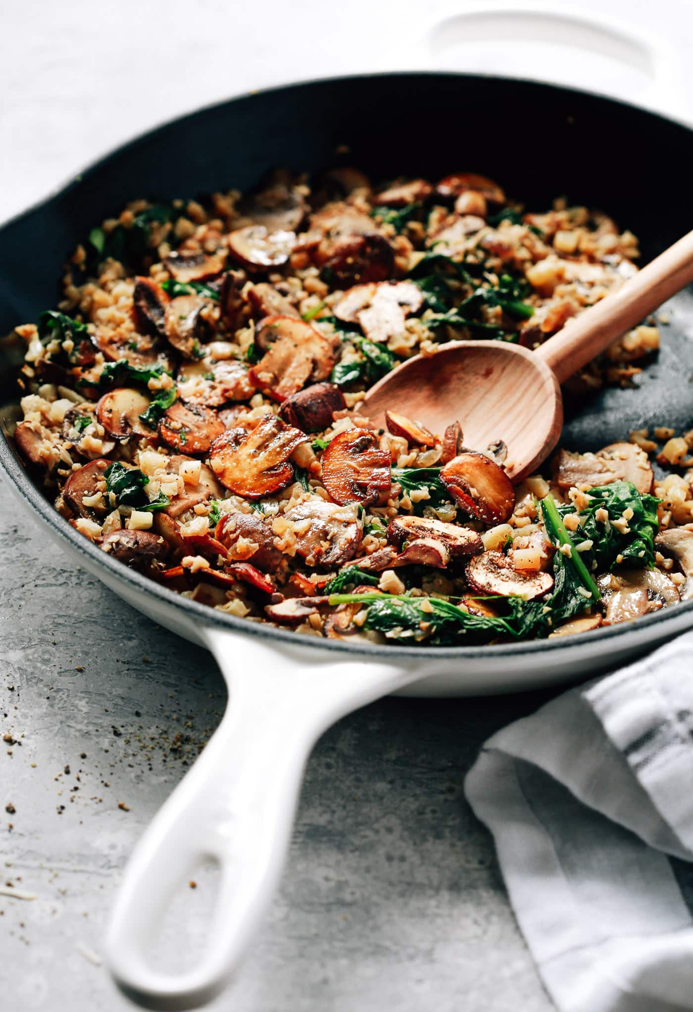 Mushroom Cauliflower Rice Skillet Primavera Kitchen Recipe