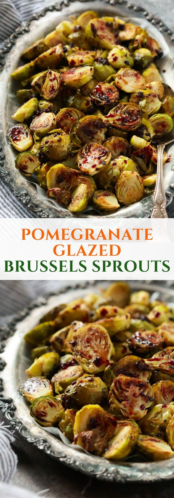These Pomegranate Glazed Brussels Sprouts are made in the oven and toss with a 2-ingredient Pomegranate glazed (pomegranate juice and soy sauce). It's easy, quick and very delicious.