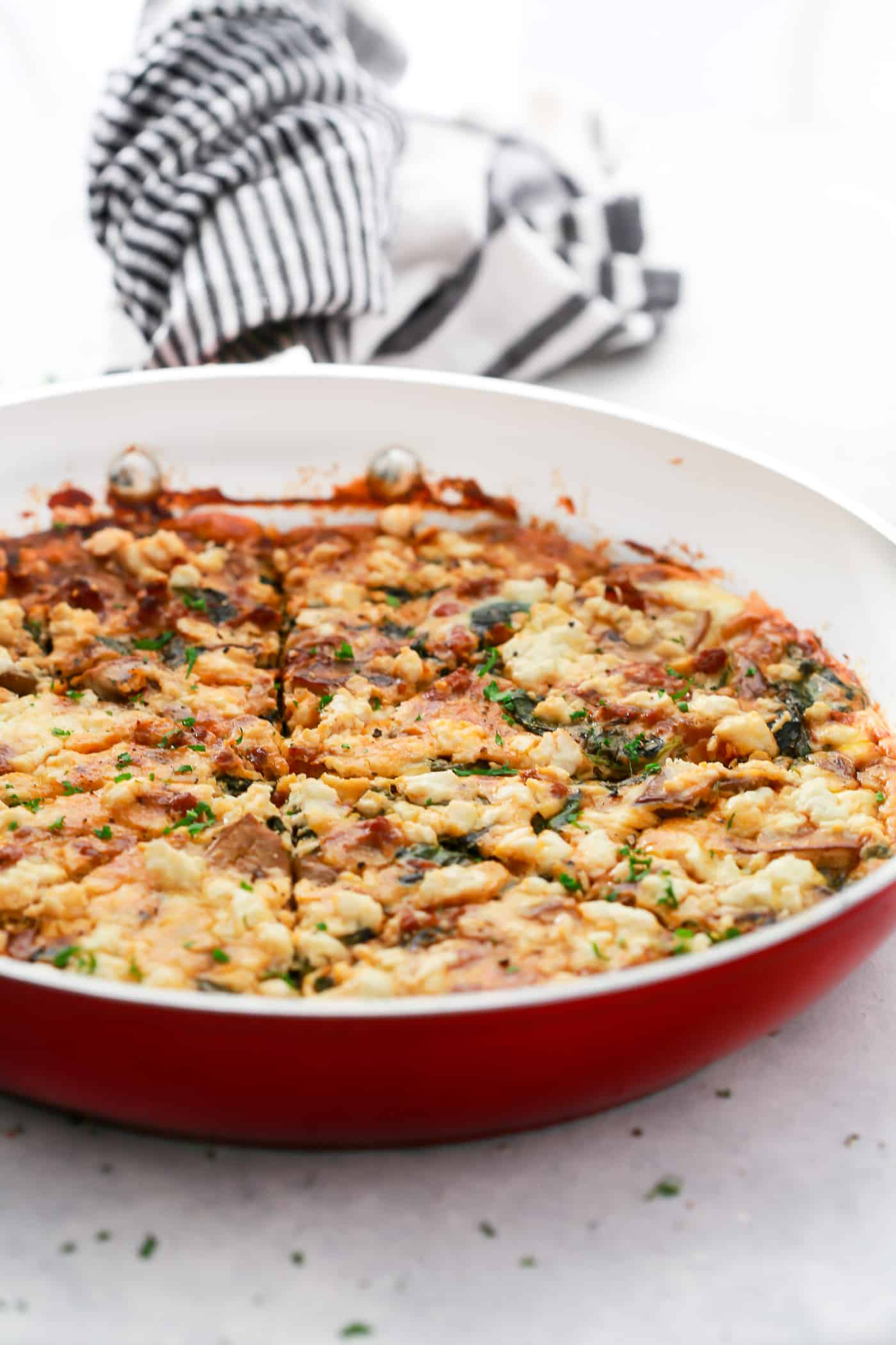 Spinach, Mushroom, and Goat Cheese Slab Frittata