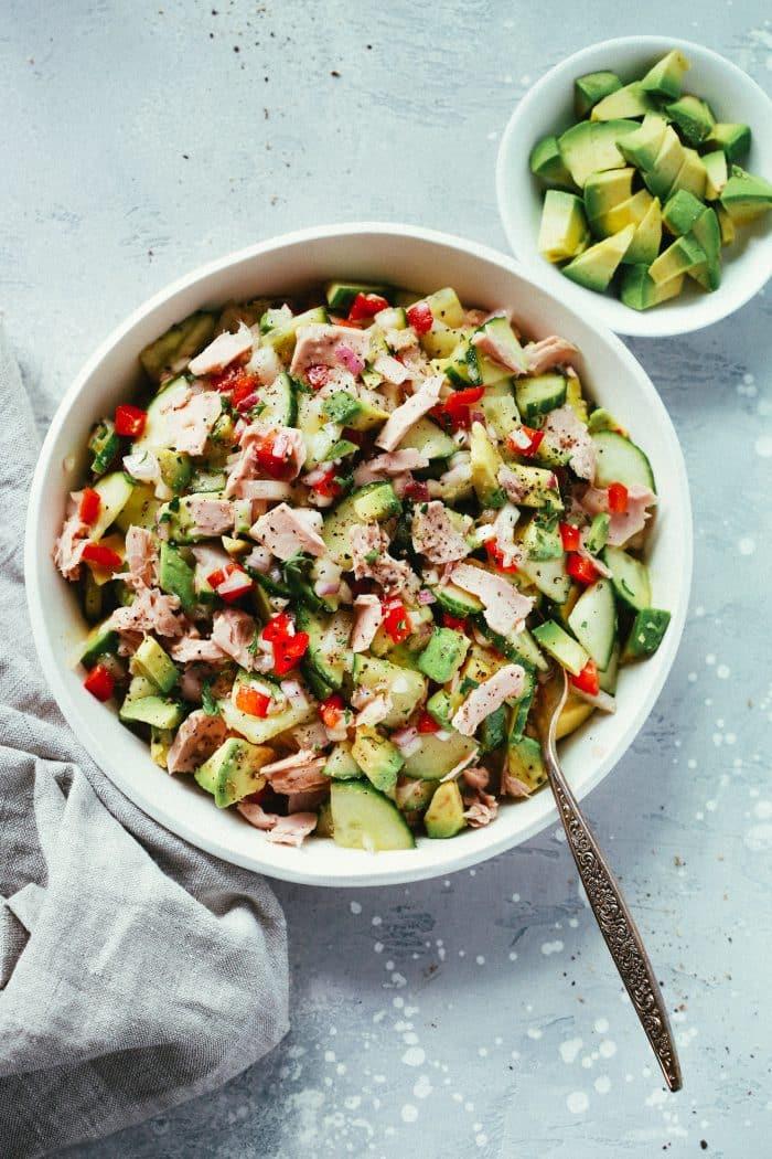 Super Easy Avocado Cucumber Tuna Salad Primavera Kitchen