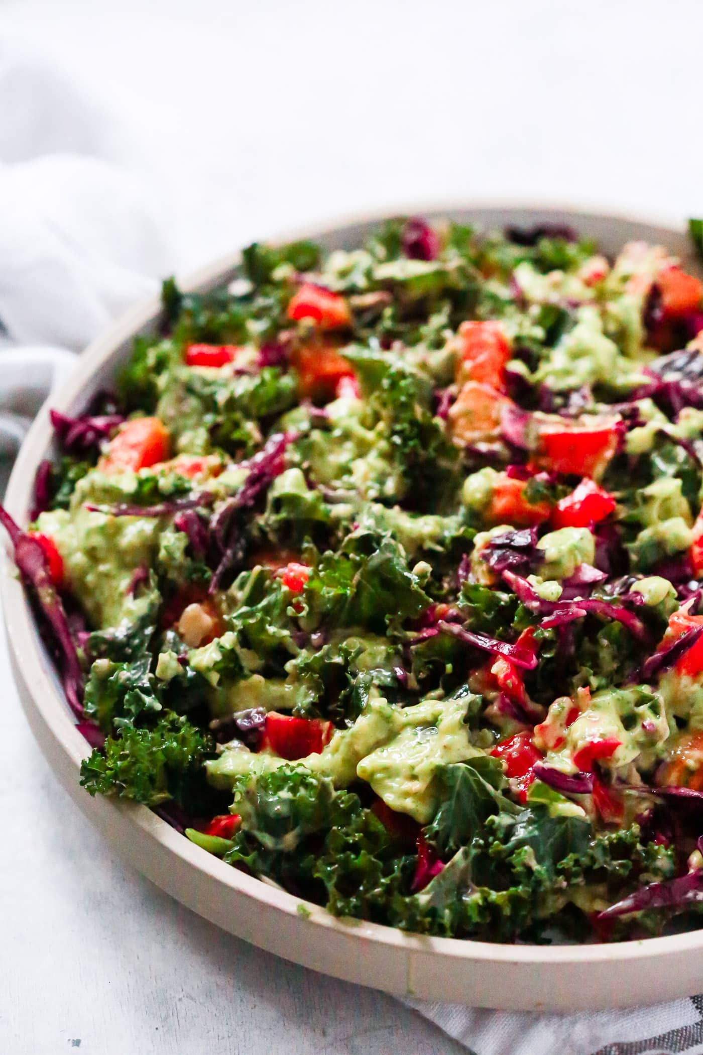 Simple Kale Salad with Avocado Dressing - Primavera Kitchen