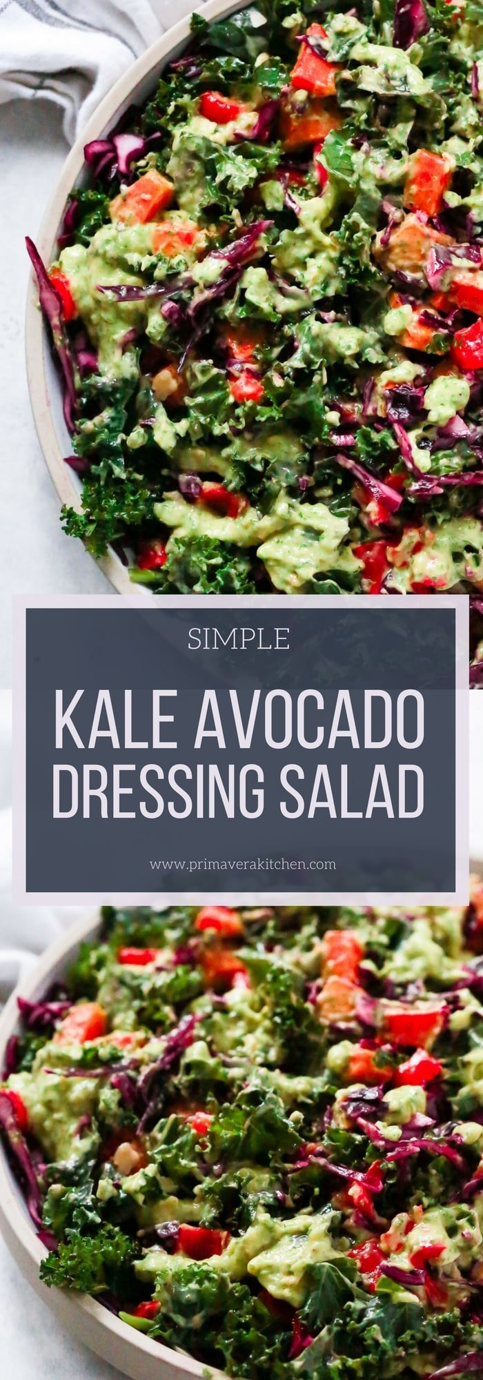 Simple Kale Salad with Avocado Dressing - Simple Kale Salad with Avocado Dressing, which is so delicious, and it's done in 5 minutes by pulsing the dressing ingredients in a food processor. Easy, healthy, gluten-free, low-carb and paleo friendly!