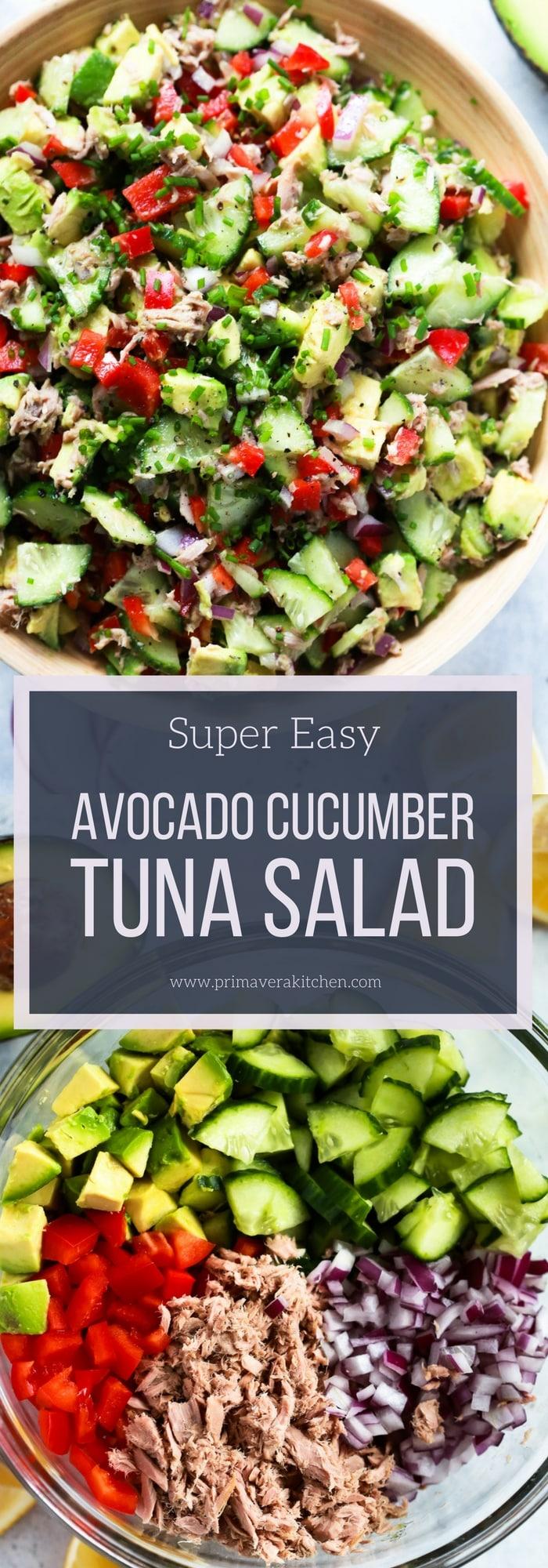 Super Easy Avocado Cucumber Tuna Salad - Primavera Kitchen