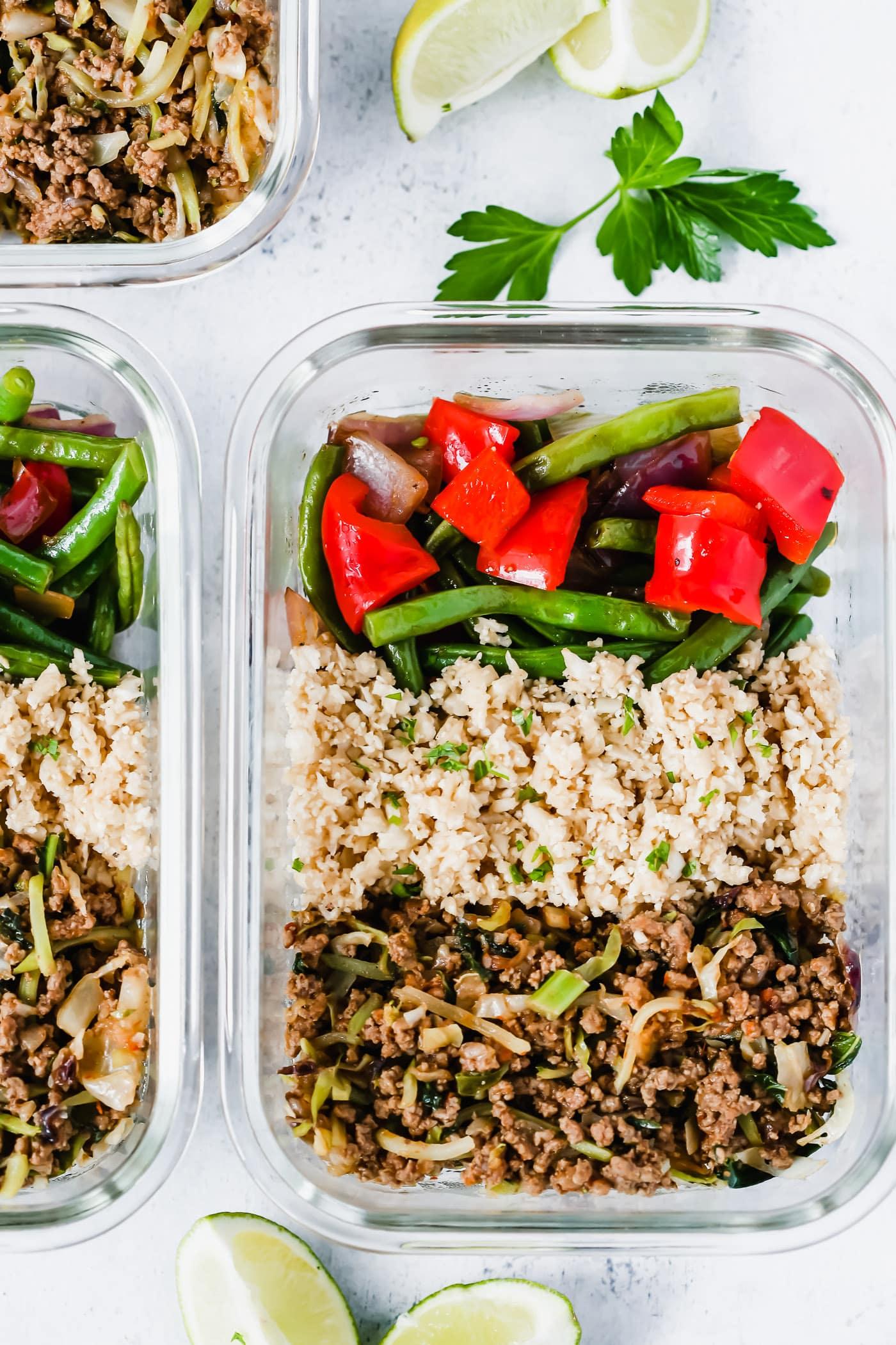 Ground Turkey Cauliflower Rice Veggie Bowls (Meal-Prep) - Primavera Kitchen